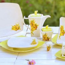 سرویس چینی 31 پارچه موژان لیمویی لب طلا - ظروف چینی ارزان